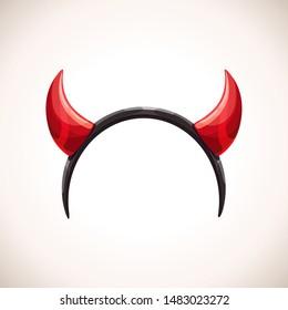 Red devil horns, head band decor. Vector Halloween costume element.