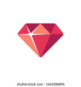 Red diamond flat icon. Slot machine symbol