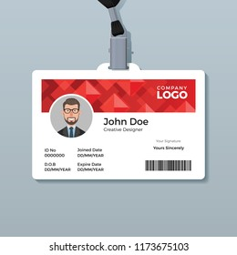 Red Diamond ID Card Template