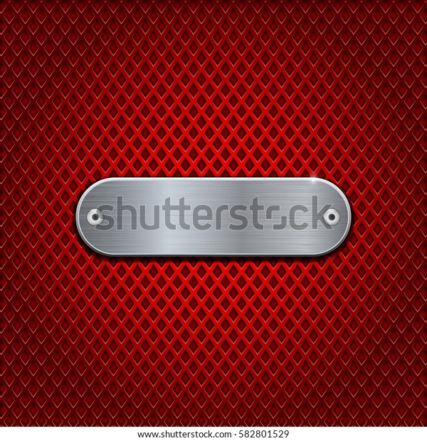Red diamond perforated background with metal brushed oval plate with rivets. Vector 3d illustration.