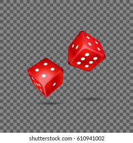 Red dice on transparent background. Vector illustration.