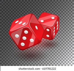 Red dices on transparent background. A decorative element for a casino.