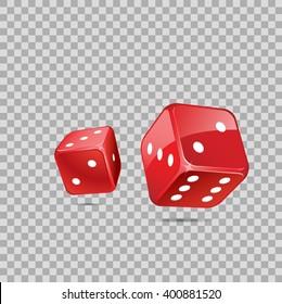 Red dices on transparent backgrund