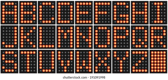 Red digital LED alphabet letters