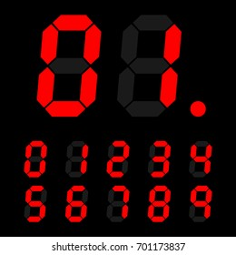 red digital number signs made up from seven segments on dark background