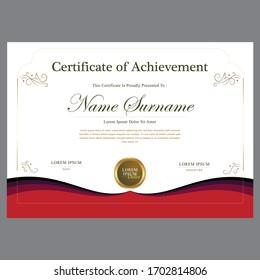 Red Diploma Certificate Design Vector