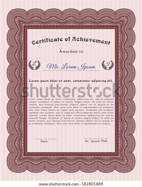 Red Diploma or certificate template. Customizable, Easy to edit and change colors. With guilloche pattern. Superior design.