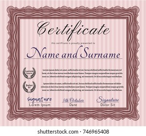 Red Diploma or certificate template. Elegant design. Customizable, Easy to edit and change colors. Complex background.