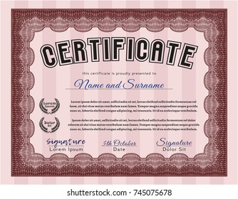 Red Diploma template or certificate template. With great quality guilloche pattern. Vector illustration. Modern design.