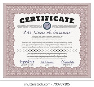 Red Diploma template or certificate template. Nice design. Complex background. Detailed.