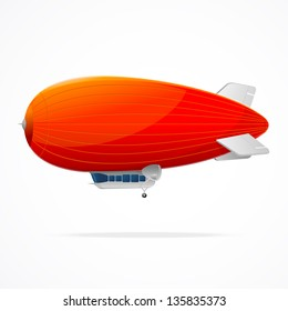 Red dirigible balloon on a white background. Vector illustration