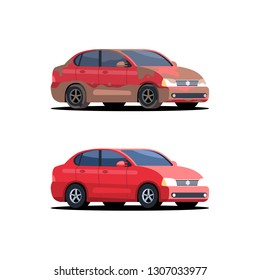 Red dirty and clean car. Vector illustration isolated on white background