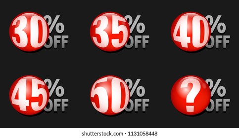 Red discount ball set 30% off to 50% off