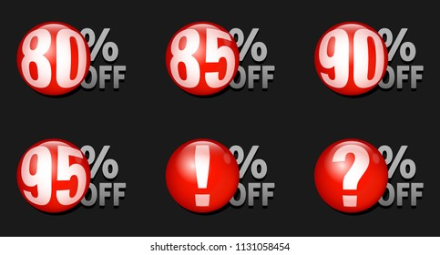 Red discount ball set 80% off to 95% off