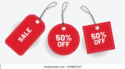 red discount label with various shape - Vector