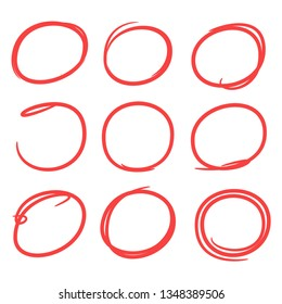 red doodle and hand drawn circle marker for emphasis text