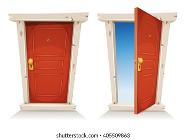 Red Door Open And Closed/ Illustration of a cartoon entry door closed and open, with sky background, symbolizing private and public frontier, paradise or heaven's gate, with door knob and peephole