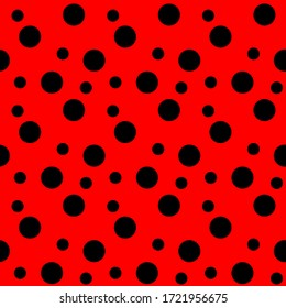 red dots seamless pattern, ladybird bug polka dot print for textile, fashion, scrapbook paper, wallpaper. Black circles on bright red as beetle spots decoration. Vector