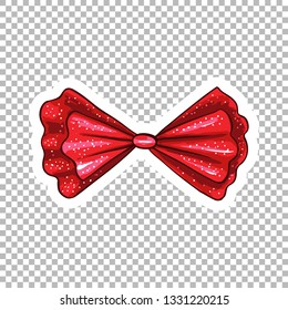 Red dotted bow hand drawn illustration. Ribbon knot contour drawing on transparent background. Bowknot isolated watercolor doodle clipart. Bow-tie cartoon sticker. Greeting card flat design element
