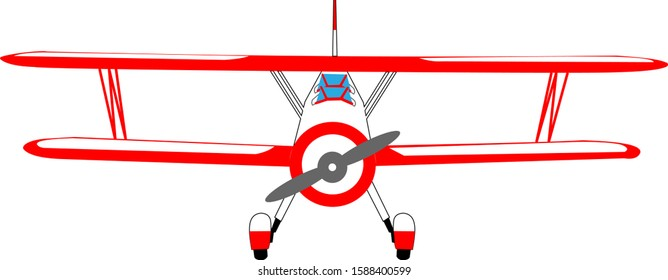 Red double agricultural airplane on a white background. Vector illustration.