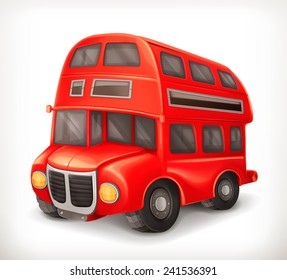 Red double deck bus, vector illustration