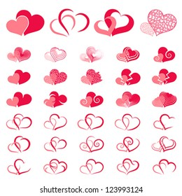 Red double heart collection icon, couple love symbol, isolated on white vector