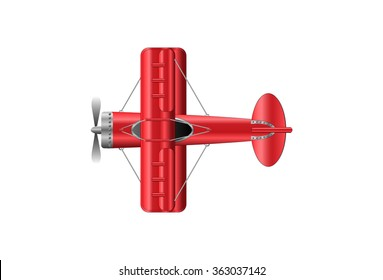red double wing plane vector