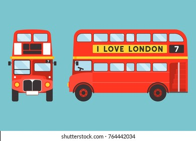 Red double-decker bus icon front and side view with I love london tag