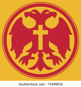 Red double-headed eagle in a red circlet with a cross