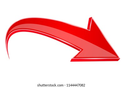 Red down arrow. 3d sign. Vector illustration isolated on white background