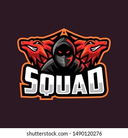 red dragon with boy illustration logo for squad gaming