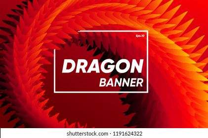 Red dragon concept banner. sharp texture with fire colors gradient. creative background vector illustration.