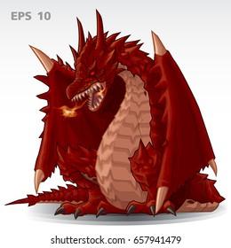 Red dragon fire breath vector