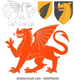 Red Dragon Illustration For Heraldry Or Tattoo Design Isolated On White Background. Heraldic Symbols And Elements