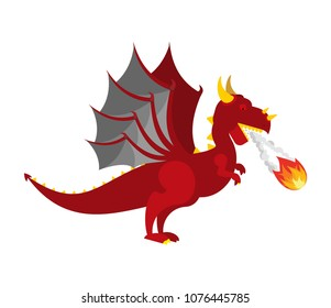 Red Dragon isolated. Mythical Monster with wings. Terrible huge beast. Vector illustration