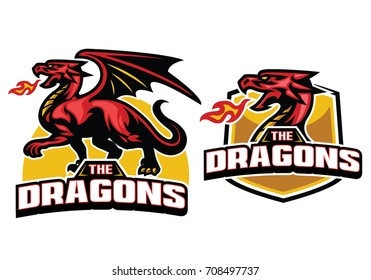 Red dragon mascot with fire breath shield banner set