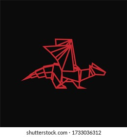 Red Dragon Polygonal Logo For Your Best Brand
