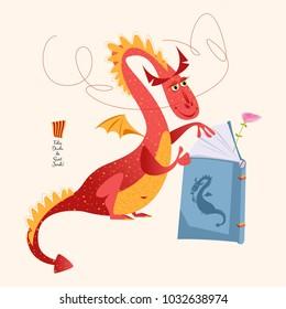 Red dragon reading a book. Diada de Sant Jordi (the Saint 's Day). Traditional festival in Catalonia, Spain. Vector illustration.