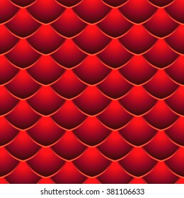 Red Dragon Scale Seamless Vector Pattern