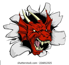 Red dragon smashing out, drawing of an attacking dragon monster