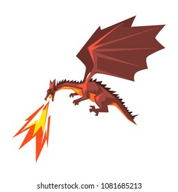 Red dragon spitting fire, mythical fire breathing animal vector Illustration on a white background