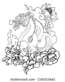 red dragon tattoo.hand drawn Dragon tattoo ,coloring book japanese style.Japanese old dragon for tattoo. Traditional Asian tattoo the old dragon vector.