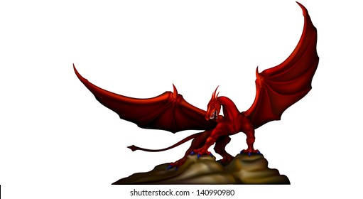 red dragon wings revealed on the rocks