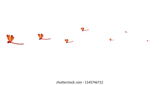Red dragonfly autumn sky background