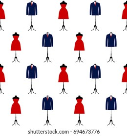 Red dress and blue suit isolated on white seamless pattern background. Abstract flat style illustration for party card, fashionable lunch invitation, menu, wallpepar, textile fabric, t shirt etc.