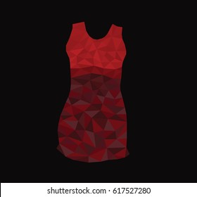 Red dress on a black background in the style of Low Poly, dress with triangles. Women clothes, vector image.