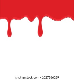 Red dripping paint isolated on a white background