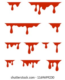 Red dripping paint, on white background