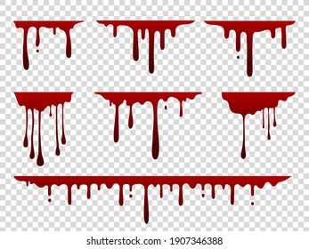 Red dripping stain. Liquid paint splash. Spooky flowing blood set. Scary current inky templates on transparent background. Creepy oozing drops. Vector horizontal wavy borders with falling droplets