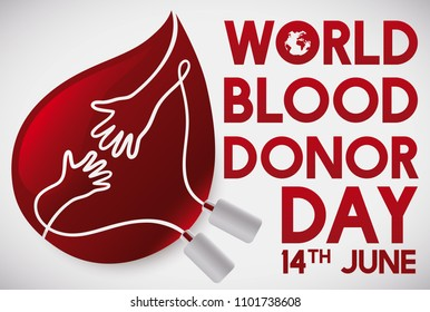 Red drop like blood bag with hands united promoting blood donation events during World Blood Donor Day in June 14.